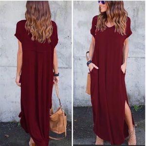 Women's maxi pockets burgundy summer shirt dress